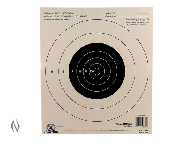CHAMPION TARGET NRA 25YD PISTOL SLOW FIRE 100 PACK Image